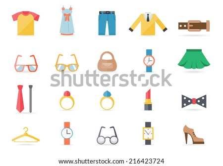 Various Clothing and Accessory Themed Graphic Icons on White Background - stock vector