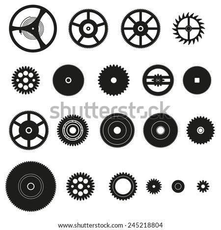 various cogwheels parts of watch movement eps10 - stock vector