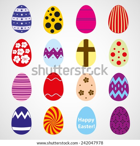 various color Easter eggs design collection eps10 - stock vector