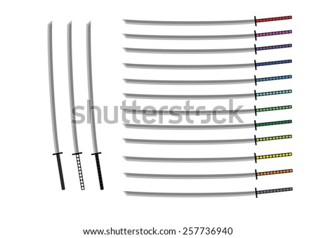 Various Color Katana Sword Set Isolated Vector illustration - stock vector