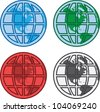 Various colored globes with grid overlay - stock photo