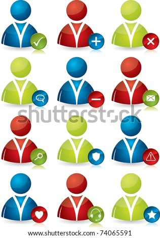 Various colored people icon designs - stock vector
