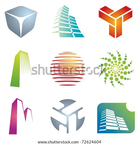Various colorful architectural and construction icons for your  designs. - stock vector