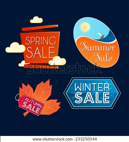 various colorful banner and tittle template for seasonal sale event - stock vector