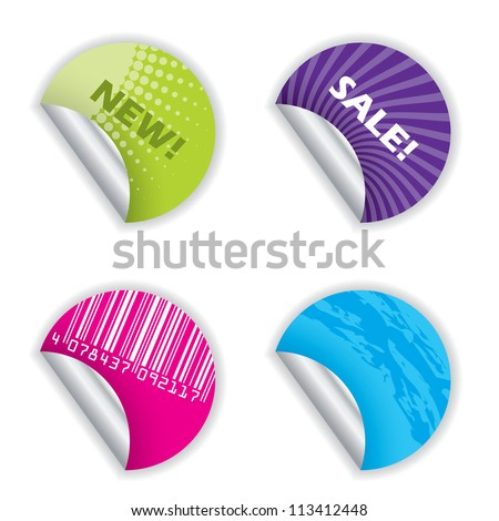 Various colorful sticker designs on white background - stock vector