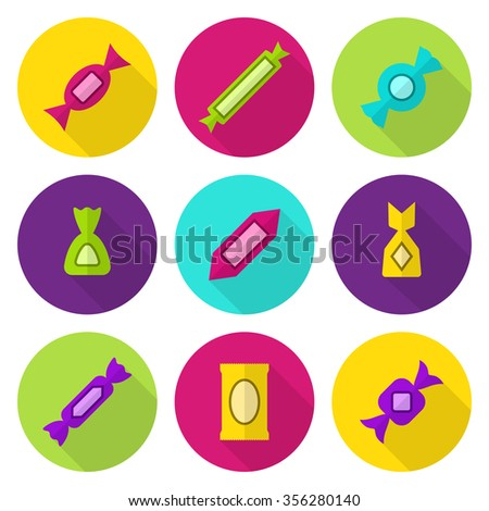 Various coloured candies vector flat icon set - stock vector