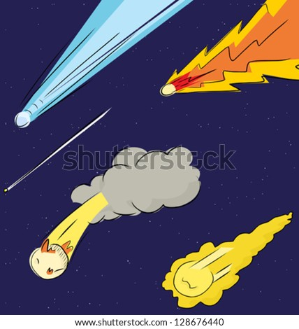 Various comets flying through in the sky - stock vector