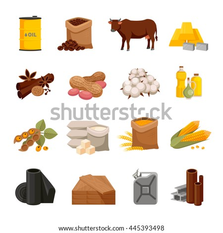 Various commodities flat icons set with food products and materials on white background isolated vector illustration  - stock vector