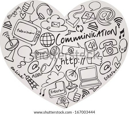 Various communication internet and web icons in heart shape - stock vector