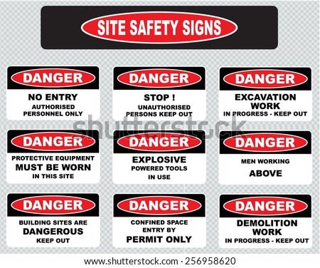 various danger sign, site safety signs (no entry authorized personnel only, excavation work in progress, protective equipment must be worn, explosive powered tools in use, men working above. - stock vector