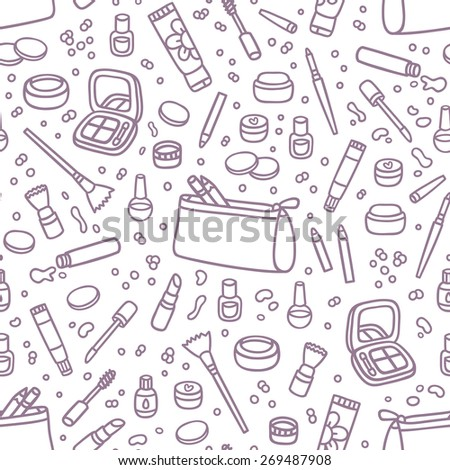 Various decorative cosmetics seamless pattern