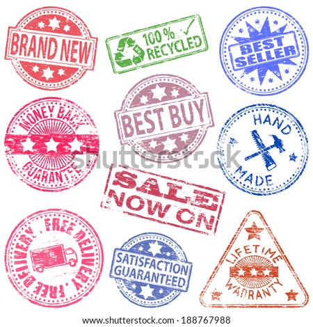 Various different retail rubber stamp vector illustrations