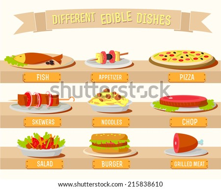 Various dishes background concept. Vector illustration design - stock vector