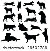 various dog silhouettes - vector illustration - stock vector