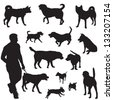 various dogs in black and white silhouettes - stock vector