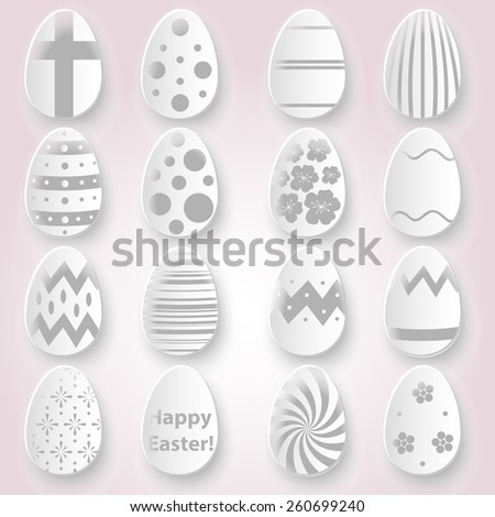 various Easter eggs design from white paper collection eps10 - stock vector