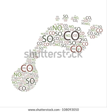 Various element symbols found in most air pollutants grouped together to form a figure of a foot. - stock vector