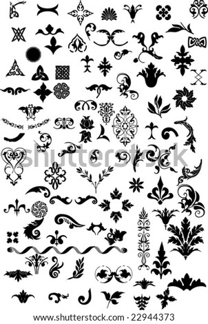 Various elements of ornaments. This image is a vector illustration and can be scaled to any size without loss of resolution.