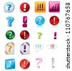 Various exclamation and question icon designs on white background - stock vector