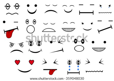 various Expression, isolated on white  - stock vector