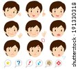 Various expressions, man - stock vector