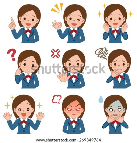 Various facial expressions set of schoolgirl - stock vector