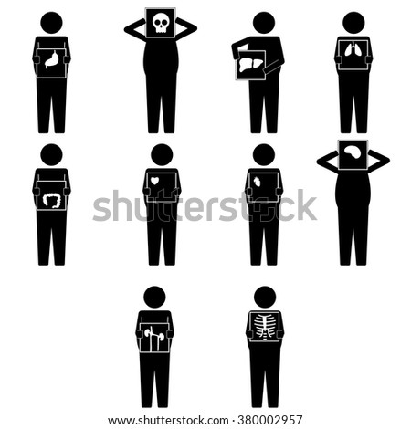 Various fat man holding x ray result for body parts infographic icon vector sign symbol pictogram