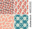various floral patterns in set - stock vector