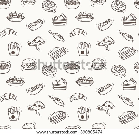 Various food doodle seamless background, restaurant background, various food in doodle style - stock vector