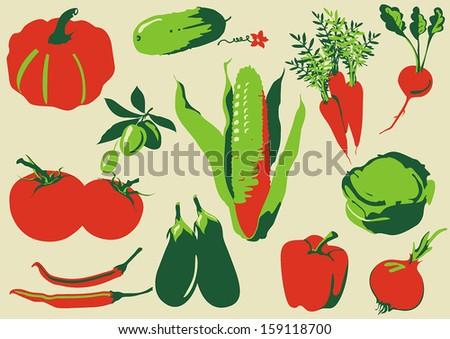 Various Fresh Vegetables Icon Set Illustration - stock vector