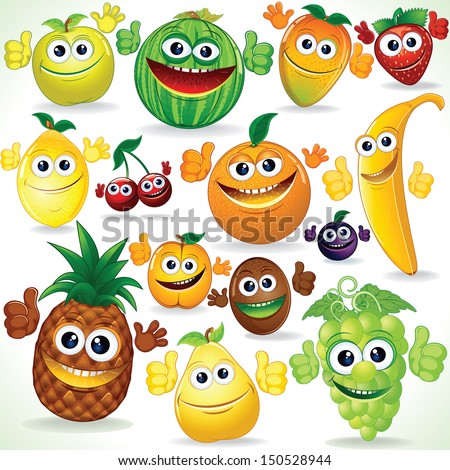 Various Funny Cartoon Fruits. Colorful Vector Clip art - stock vector