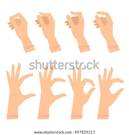Various gestures of female hands on a white background. Vector flat illustration of woman's hands in different situations. Vector design elements for infographic, web, internet, presentation, booklet.
