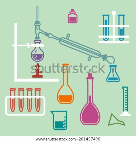 Various glass chemistry lab equipment. Chemistry experiment.