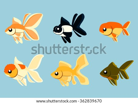 Various goldfish strains in simple vector illustration.