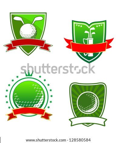 Various golfing heraldic sports icons with blank banners for your text or team, vector illustration isolated on white. Jpeg version also available in gallery - stock vector