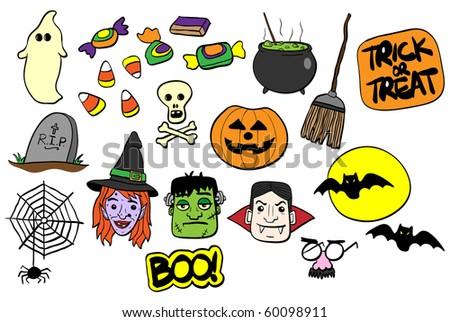 Various Halloween elements - VECTOR - stock vector