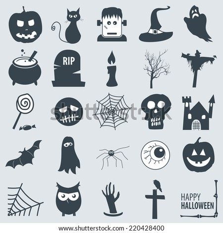 various halloween icons - stock vector