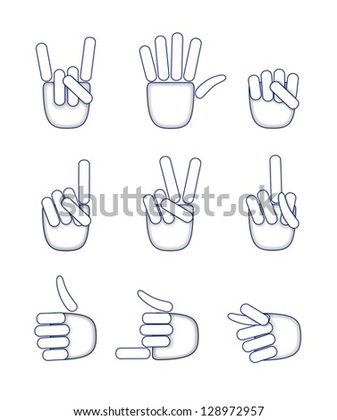Various hand gestures are shown in the picture.
