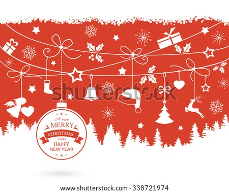 Various hanging Christmas ornaments like Christmas bauble, santa hat, reindeer, angel, heart, present, stocking and Christmas tree with ribbons on a monochrome red backdrop over a fir landscape. - stock vector