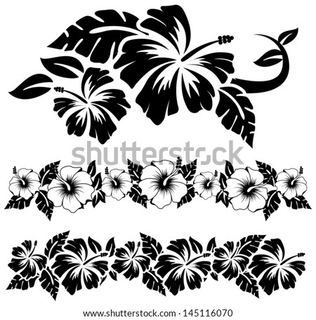 Various hibiscus hawaiian tropical flowers - stock vector