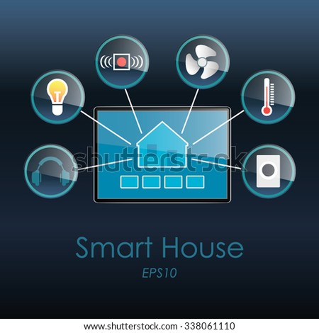 Various home automation icons with flat design on blue background to control light, energy, temperature, entertainment system, sensors and security of a house. - stock vector