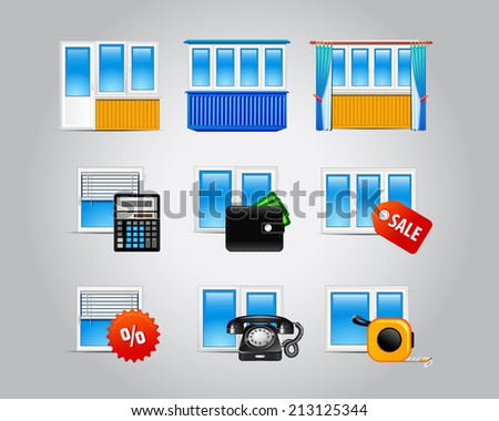 Various icons of plastic windows and related services. Plastic windows icons. - stock vector