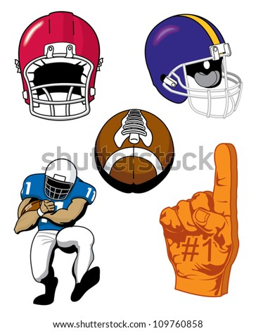 Various illustrations of Sports football items - stock vector