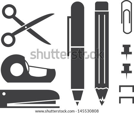 Various Isolated Office Supply Silhouettes