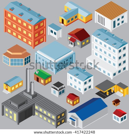Various Isometric Buildings and Architecture Objects. Vector Set - stock vector