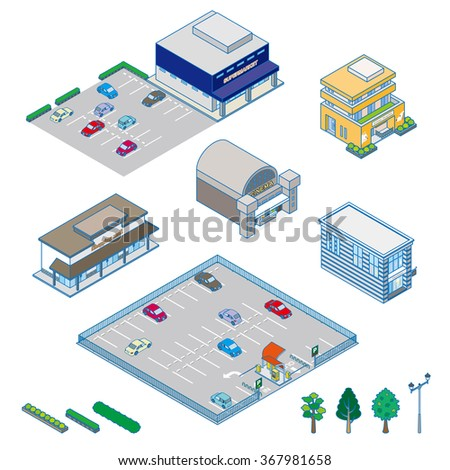 Various isometric buildings, cars, trees, shrubs and street lights.
