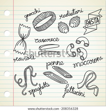 various Italian pasta doodle - stock vector