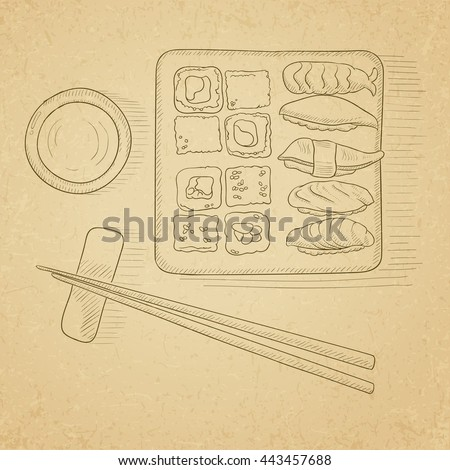 Various kinds of sushi served on a plate. Hand drawn on old paper vintage background. Vector sketch illustration.