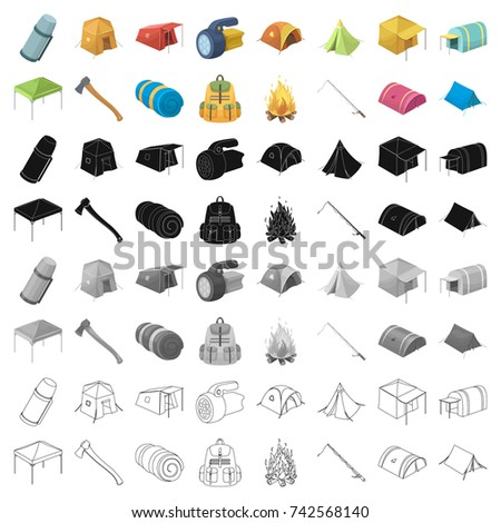 Various kinds of tents and other tourist accessories. The tent set collection icons in cartoon  sc 1 st  Shutterstock & Various Kinds Tents Other Tourist Accessories Stock Vector ...