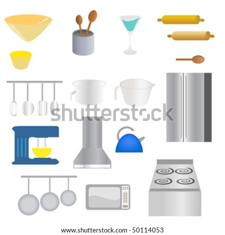 Various kitchen supplies and utensils - stock vector